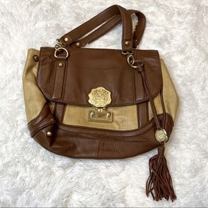 Vince Camuto Straw Leather Bag with Gold Detailing